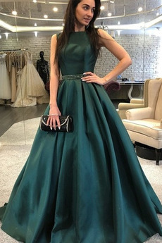 Rochie de bal Elegant Afișează Talie naturală Satin Fără mâneci