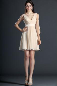 Rochie de bal Scurt Şifon În aer liber Plisat Corsetul plisate