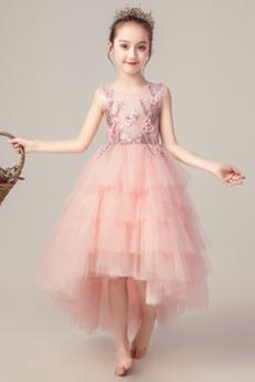 Rochie florăreasă Tul Perle Vară Ceremonie Asimetric Bijuterie