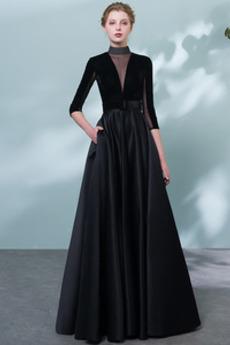 Rochie de bal Elegant Etaj lungime Maneci trei sferturi Catifea