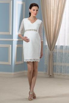Rochie de mireasa Epocă Maternitate Talie imperiu Primăvară Iluzia mâneci