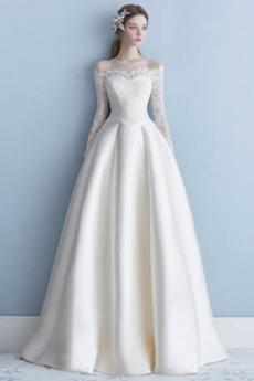 Rochie de mireasa Dantelă Mâneci lungi Satin Elegant A-linie
