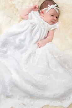 Rochie de botez Mare acoperit Mâneci scurte Capac/pălărie Negru înalt