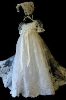 Rochie de botez Balon mâneci Tul Primăvară Arc accentuată Capac/pălărie
