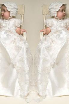 Rochie de botez Tricou Mare acoperit Bijuterie Modest Mâneci scurte