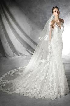 Rochie de mireasa Sirenă Tul Sală Capela Dantelă Cu voal Talie naturale