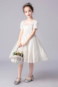 Rochie florăreasă Dantelă Primăvară Mâneci scurte Bijuterie