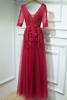 Rochie de domnişoară de onoare Mâneci scurte Triunghi inversat