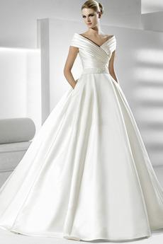 Rochie de mireasa Mâneci scurte Cu voal Înalt acoperit Formale