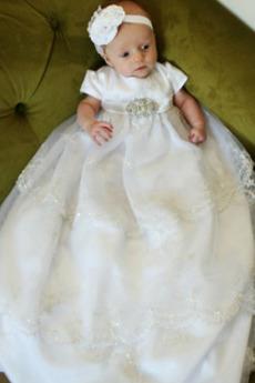 Rochie de botez Printesa Mare acoperit Formale Mâneci scurte