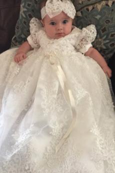 Rochie de botez Vara Ghirlandă Mâneci scurte Aplicatiile Lanternă