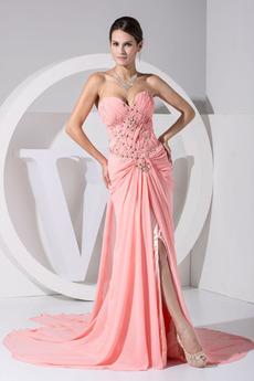 Rochie de bal Fermoar Fără mâneci Elegant Şifon Dragă Mediu Talie naturale