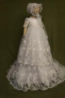 Rochie de botez Suprapunere de dantela Vacanţă Mare acoperit