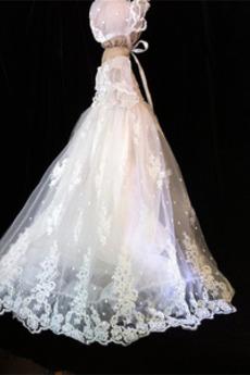 Rochie de botez Capac/pălărie Balon mâneci Prințesă Primăvară