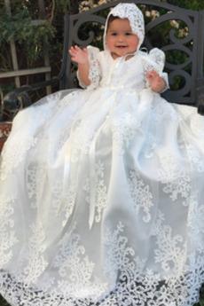 Rochie de botez Înalt acoperit Prințesă Arc Manșoane de manșetă