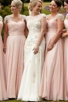 Rochie de domnişoară de onoare Fermoar Elegant Talie naturale