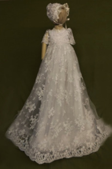 Rochie de botez Prințesă Mare acoperit Formale Tricou Cădea Aplicatiile