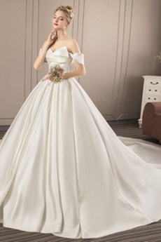Rochie de mireasa Satin Talie naturală Corsetul plisate Regal