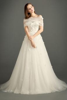 Rochie de mireasa Fără mâneci Arc Pară Etaj lungime Elegant Dragă