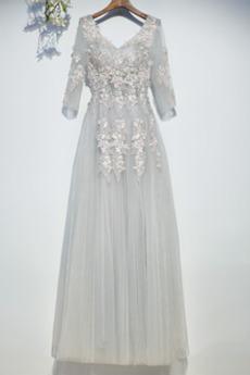 Rochie de domnişoară de onoare Luxos Vară Talie naturale V gâtului