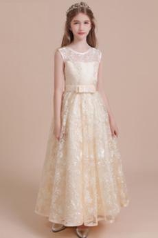 Rochie florăreasă Elegant Suprapunere de dantela Bijuterie Arc