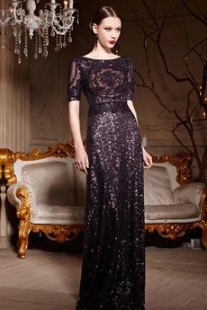 Rochie cu paiete Sheer Înapoi Paiete Talie naturale Elegant Tricou
