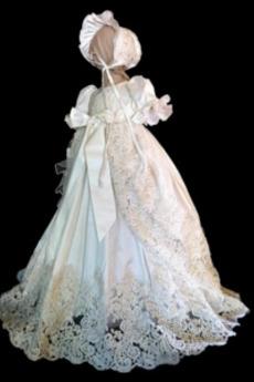 Rochie de botez Arc accentuată Suprapunere de dantela Formale