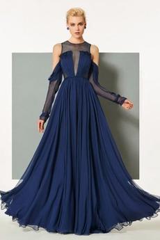 Rochie de seara Drapat Talie naturală Elegant A-linie Sifon Etaj lungime