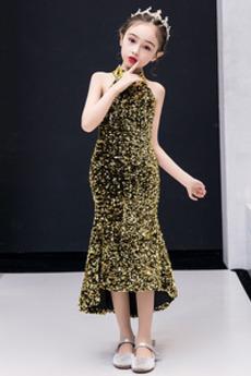 Rochie Fete de flori Negru înalt Toamnă Fără mâneci Mediu înaltă joasă