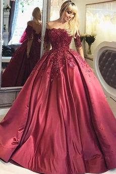 Rochie de bal Formale Matura De pe umăr Satin A-linie Dantelă