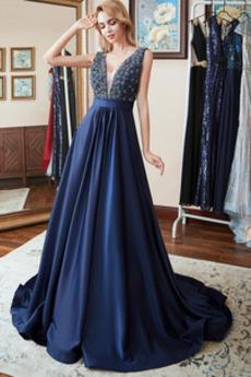 Rochie de bal Mătura Satin Luxos V-gât adânc A-linie Fara spate