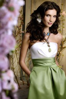 Rochie de domnişoară de onoare Fără mâneci Măr Talie naturale