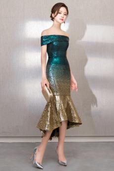 Rochie de bal Sirenă Talie naturale Fermoar Şic Paiete De pe umăr
