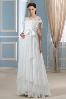 Rochie de mireasa Mâneci scurte Talie imperiu Maternitate Elegant