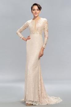 Rochie de seara Şic A se vedea prin Mâneci lungi Nuntă Dantela