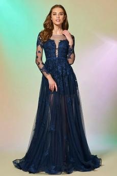 Rochie de seara Talie naturale Lung Dantelă Pară Tul Suprapunere de dantela