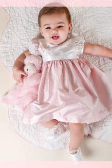 Rochie de botez Broderie Prințesă Tricou Ceai de lungime Mâneci scurte