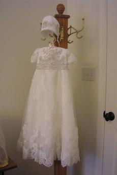 Rochie de botez Lung Perle Bijuterie Vacanţă Corsetul cu bijuterii
