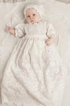 Rochie de botez Jumătate mâneci Cădea Prințesă Bijuterie Dantela