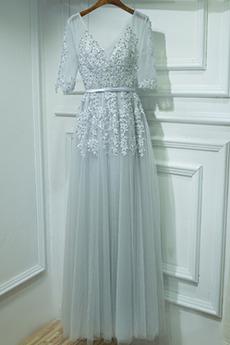 Rochie de domnişoară de onoare Vară A-linie V gâtului Măr Nuntă