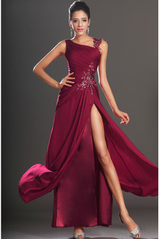 Rochie de bal Fantă coapsă-mare Mijlocul spate Întuneric Roşu