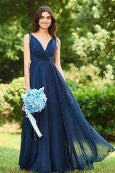 Rochie de domnişoară de onoare V-gât adânc Elegant Mătura Talie naturale