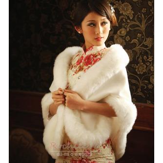 Elegant alb de iarna alb gros de cristal floare broșă dreptunghi nunta șal - Pagină 1