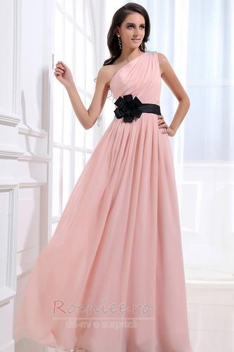 Rochie de domnişoară de onoare Lung Pompos Perla roz Drapat Un umăr - Pagină 3