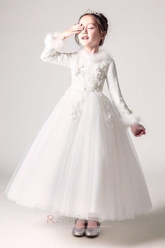 Rochie florăreasă A-linie Iarnă V gâtului Fermoar Tricou Satin - Pagină 1
