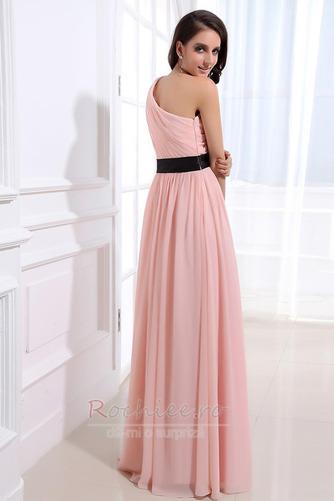 Rochie de domnişoară de onoare Lung Pompos Perla roz Drapat Un umăr - Pagină 4