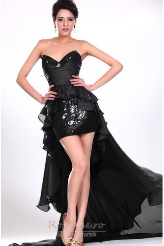 Rochie de cocktail Asimetric Şic Esarfe înaltă joasă Negru Fără mâneci - Pagină 2