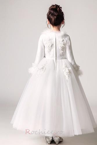 Rochie florăreasă A-linie Iarnă V gâtului Fermoar Tricou Satin - Pagină 2