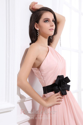 Rochie de domnişoară de onoare Lung Pompos Perla roz Drapat Un umăr - Pagină 5