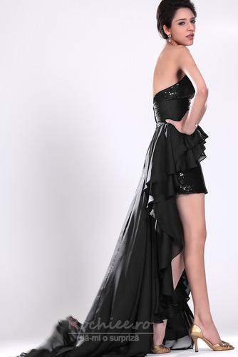 Rochie de cocktail Asimetric Şic Esarfe înaltă joasă Negru Fără mâneci - Pagină 4